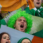 Irish fans during the Ireland V Wales Quarter Final match at the IRB Rugby World Cup tournament. Wellington Regional Stadium, Wellington, New Zealand, 8th October 2011. Photo Tim Clayton...