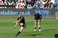 Dan Biggar of the Ospreys misses with this penalty kick in the final seconds which would have won the game. Guinness Pro12 rugby match, Ospreys v Leinster Rugby at the Liberty Stadium in Swansea, South Wales on Saturday 8th April 2017. <br /> pic by Andrew Orchard, Andrew Orchard sports photography.