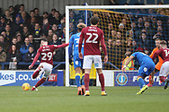 Northampton Town midfielder Matt Grimes (29) scoring penalty to make it 0-1 during the EFL Sky Bet League 1 match between AFC Wimbledon and Northampton Town at the Cherry Red Records Stadium, Kingston, England on 10 February 2018. Picture by Matthew Redman.
