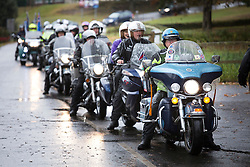 "© Licensed to London News Pictures. 04/10/2014. Alrewas, Staffordsire, UK. The 2014 Ride to the Wall took place today. Over six thousand riders started from six points to Ride To The Wall, at the National Memorial Aboretum in Staffordshire. The seventh time the event has taken place and has now become an annual pilgramage for ex-servicemen and those currently serving in the Armed Forces. Pictured, riders assembling in Drayton Manor Park ready for the run to the ""Wall"". Photo credit : Dave Warren/LNP"