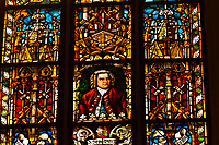 Stained glass window featuring Johann Sebastian Bach's, St. Thomas Church (Thomaskirche), Leipzig, Saxony, Germany