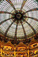 The art deco stained glass dome of Galeries Lafayette Paris Haussmann department store, Paris, France.