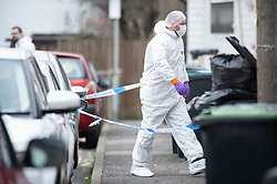 ©Licensed to London News Pictures 04/02/2020<br /> Northfleet, UK. A murder investigation has been launched by Kent police after a 44 year old man was found at a property with stab wounds in the early hours of the morning. Forensic police officers are on scene and the area in Northfleet, Kent has police standing guard at a cordon. Photo credit: Grant Falvey/LNP