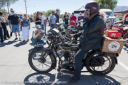 Kevin Waters stops at Luckie Park in Twentynine Palms, California where the city hosted a lunch for the riders during the Motorcycle Cannonball Race of the Century. Stage-14 ride from Lake Havasu CIty, AZ to Palm Desert, CA. USA. Saturday September 24, 2016. Photography ©2016 Michael Lichter.