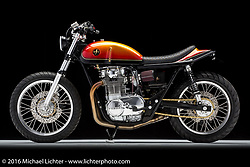 A red, orange, and yellow painted custom 1977 Yamaha XS650 by Heath Reed of River Rat Cycle Fab in Davenport, IA. Photographed by Michael Lichter in Boulder, CO on April 5, 2016. ©2016 Michael Lichter.
