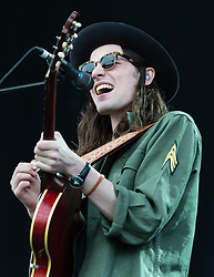 © Licensed to London News Pictures. 13/06/2015. Newport, UK.   James Bay performing live at Isle of Wight Festival 2015, Day 3 Saturday.  This afternoon as started with warm sunshine.  Yesterday the rain was torrential.  Headline acts include The Prodigy, Blur and Fleetwood Mac.   Photo credit : Richard Isaac/LNP