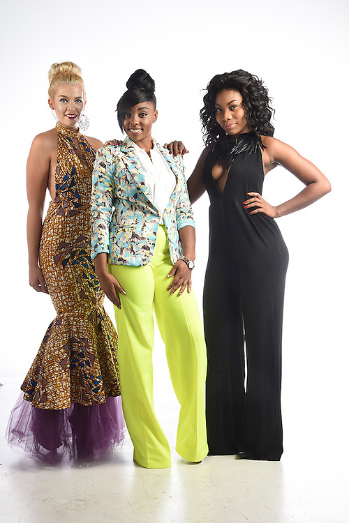 Hartford, CT, 8/24/2016<br /> Fashion designer Chinnyere McPherson of New Britain, center, with models Alexa Pagnani of East Haddam, left, and Daneil Patterson of Bloomfield.<br /> Photo by MARA LAVITT/ Special to the Courant.