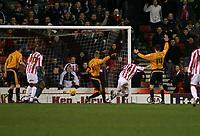 Photo: Mark Stephenson.<br />Stoke City v Wolverhampton Wanderers. Coca Cola Championship. 13/01/2007.<br />Stoke's no 6 Clint Hill scores for Stoke.