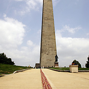 BOSTON, MASS- July 13, 2005:  The Freedom Trail leads visitors to the Bunker Hill Monument in Boston, Massachusetts on July 13, 2005. The Battle of Bunker Hill, which took place June 17, 1775, is marked by the 221-foot granite monument with a staircase that leads to the top. (Photo by Todd Bigelow/Aurora)