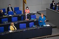 DEU, Deutschland, Germany, Berlin, 23.06.2021: Bundeskanzlering Dr. Angela Merkel (CDU) stellt sich den Fragen der Abgeordneten bei der Regierungsbefragung in der Plenarsitzung im Deutschen Bundestag.
