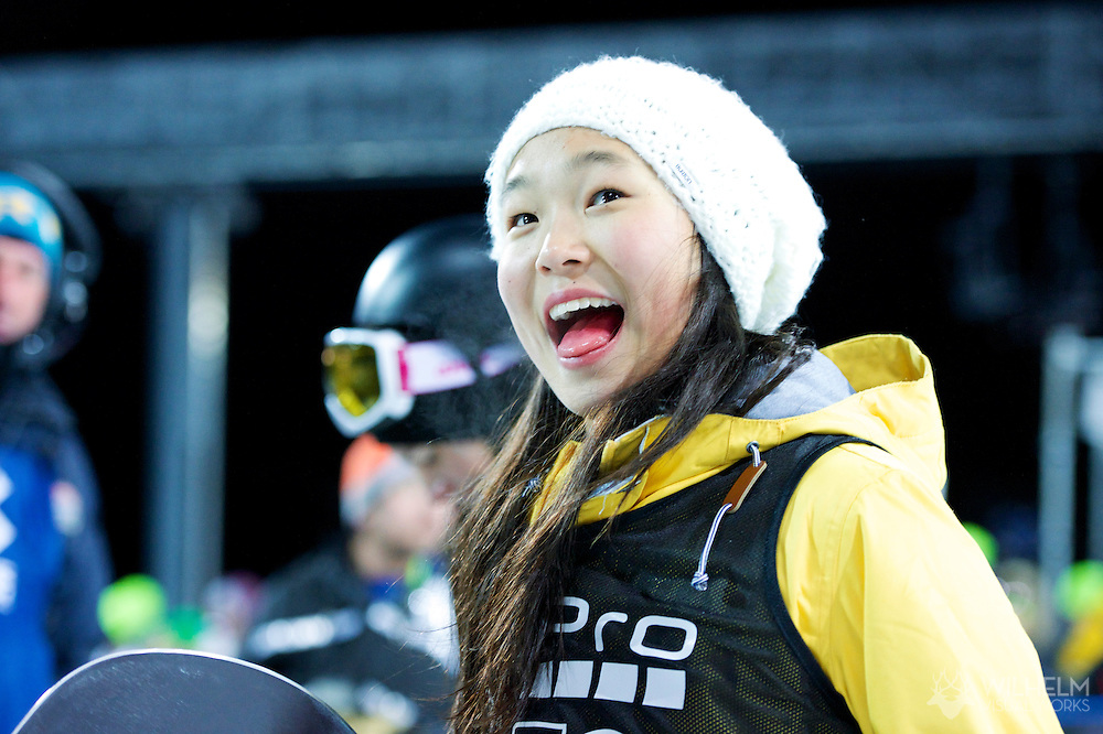 Chloe Kim during Women's Snowboard Pipe Finals at 2014 X Games Aspen at Buttermilk Mountain in Aspen, CO. ©Brett Wilhelm/ESPN