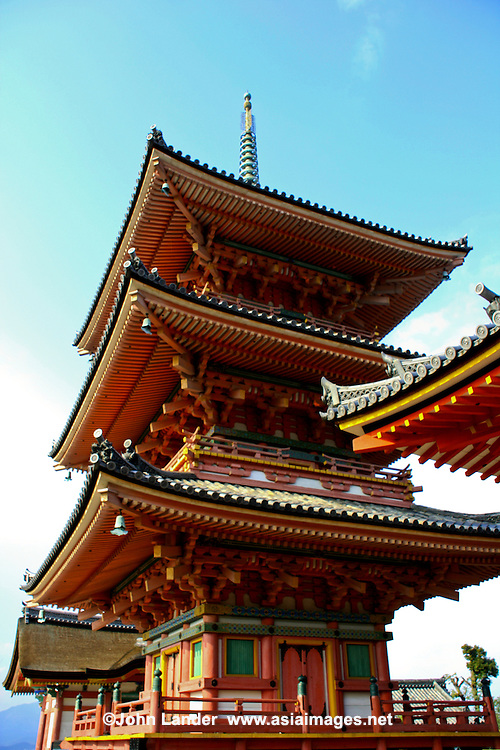 Kiyomizu Dera Temple Pagoda  - Kiyomizu-dera is a Buddhist temple in eastern Kyoto. The temple is a UNESCO World Heritage site.  Not one nail is used in building the entire temple.  It takes its name from the waterfall within the complex grounds. In Japanese Kiyomizu means clear water or pure water.