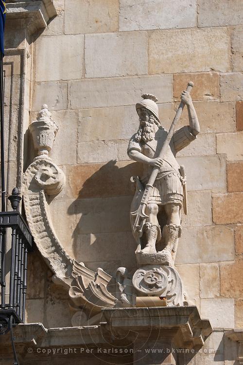 Palacio de los Guzmanes palace entrance detail , Plaza San Marcelo , Leon spain castile and leon