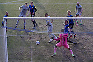 0-1, GOAL scored by Kane Hemmings of Burton Albion   during the EFL Sky Bet League 1 match between Rochdale and Burton Albion at the Crown Oil Arena, Rochdale, England on 27 February 2021.