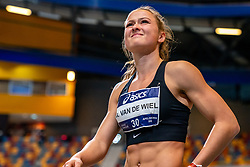 Anne van de Wiel in action on long jump during the Dutch Athletics Championships on 14 February 2021 in Apeldoorn