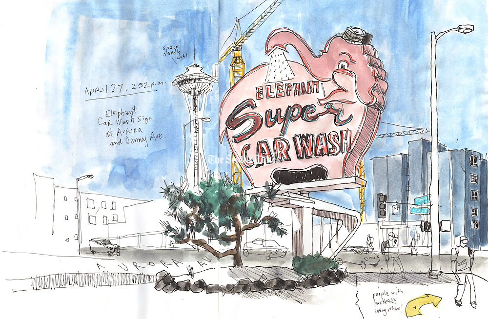 The Elephant Car Wash sign on Battery Street, this location opened in 1956.<br /> <br /> Gabriel Campanario / The Seattle Times<br /> <br /> REPRODUCTION INCLUDES SEAM OF SKETCHBOOK