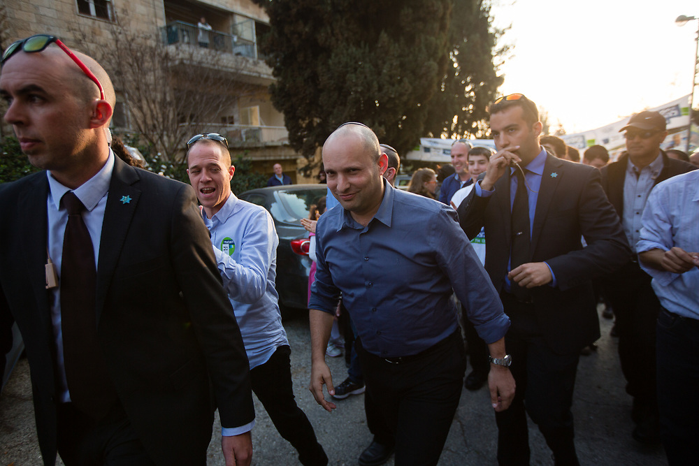 Naftali Bennett, leader of the Jewish Home party is seen after delivering a statement to the media outside a polling station in Jerusalem, Israel, on March 17, 2015, as Israelis vote in early parliament elections.