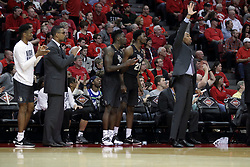 20 March 2017:  Knights bench during a College NIT (National Invitational Tournament) 2nd round mens basketball game between the UCF (University of Central Florida) Knights and Illinois State Redbirds in  Redbird Arena, Normal IL<br />