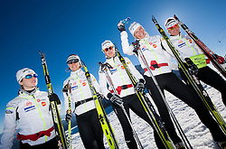 Alenka Cebasek, Mirjam Cossettini, Vesna Fabjan Katja Visnar and Barbara Jezersek during Training camp of Slovenian Cross country Ski team on October 23, 2012 in Dachstein Getscher, Austria. (Photo By Vid Ponikvar / Sportida)