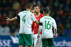 November 12, 2017 - Basel, Switzerland - A discussion between Gareth McAuley of Northern Ireland and Haris Seferovic of Switzerland  during the FIFA 2018 World Cup Qualifier Play-Off: Second Leg between Switzerland and Northern Ireland at St. Jakob-Park on November 12, 2017 in Basel, Basel-Stadt. (Credit Image: © Matteo Ciambelli/NurPhoto via ZUMA Press)