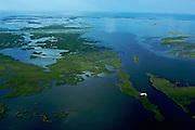Aerial Shot of Vanishing Louisiana Coastal Wetlands South of Cocodrie, Louisiana