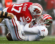 Wisconsin forces a fumble on Indiana quarterback. (AP Photo/Andy Manis)