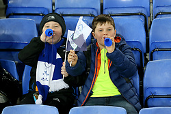 Football fans blowing horns during the SportPesa Trophy match at Goodison Park, Liverpool. PRESS ASSOCIATION Photo. Picture date: Tuesday November 6, 2018. See PA story SOCCER Everton. Photo credit should read: Richard Sellers/PA Wire