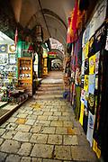 Via Dolorosa in the Old City, Jerusalem, Israel. Souvenir shops along the way