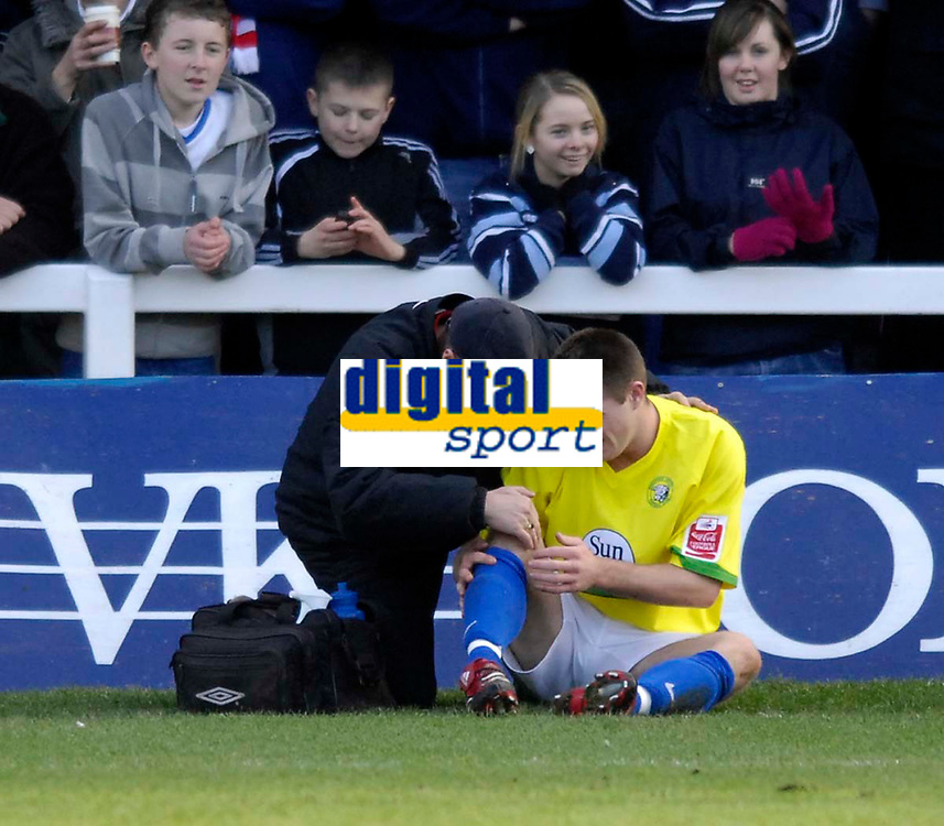 Photo: Jed Wee/Sportsbeat Images.<br /> Hartlepool United v Hereford United. Coca Cola League 2. 03/03/2007.<br /> <br /> Hereford's Steven Jennings injures his knee in the build up to Hartlepool's second goal.