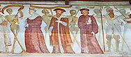 """The Church of San Vigilio in Pinzolo and its fresco paintings """"Dance of Death"""" painted by Simone Baschenis of Averaria in1539, Pinzolo, Trentino, Italy.<br /> <br /> Visit our MEDIEVAL ART PHOTO COLLECTIONS for more   photos  to download or buy as prints https://funkystock.photoshelter.com/gallery-collection/Medieval-Middle-Ages-Art-Artefacts-Antiquities-Pictures-Images-of/C0000YpKXiAHnG2k<br /> If you prefer to buy from our ALAMY PHOTO LIBRARY  Collection visit : https://www.alamy.com/portfolio/paul-williams-funkystock/san-vigilio-pinzolo-dance-of-death.html"""