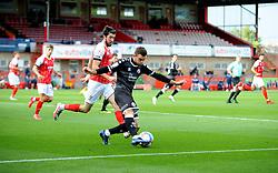Finn Azaz of Cheltenham Town applies pressure on Tyler Frost of Crawley Town- Mandatory by-line: Nizaam Jones/JMP - 10/10/2020 - FOOTBALL - Jonny-Rocks Stadium - Cheltenham, England - Cheltenham Town v Crawley Town - Sky Bet League Two