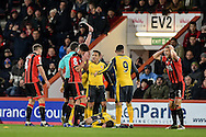 AFC Bournemouth Defender, Simon Francis (2) is shown the red card during the Premier League match between Bournemouth and Arsenal at the Vitality Stadium, Bournemouth, England on 3 January 2017. Photo by Adam Rivers.