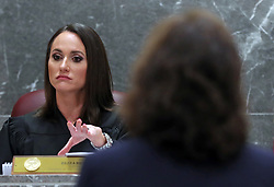 Broward Circuit Judge Elizabeth Scherer speaks to Sun Sentinel attorney Dana McElroy regarding a school board motion to find the Sun Sentinel in contempt for publishing details of a report on Nikolas Cruz's education record. Photographed at the Broward County Courthouse in Fort Lauderdale, FL, USA on Wednesday, August 15, 2018. Photo by Amy Beth Bennett/Sun Sentinel/TNS/ABACAPRESS.COM