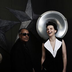 Certified Copy's actress Juliette Binoche and director Abbas Kiarostami at the 63rd Cannes Film Festival. France. 18 May 2010. Photo: Antoine Doyen