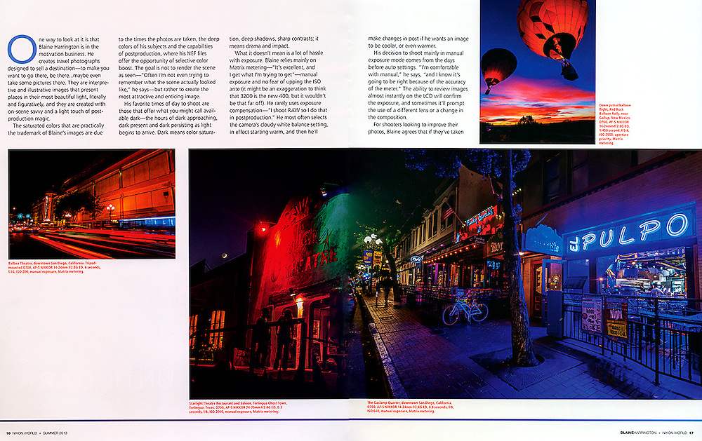 """The Summer 2013 cover story in Nikon World Magazine called """"Wait until Dark"""". Blaine Harrington tells about his night photography and other shooting in very low light."""