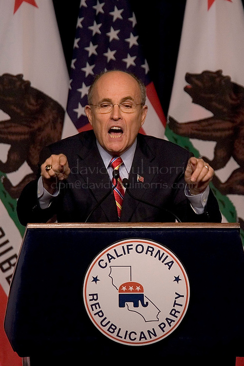 SACRAMENTO, CA - FEBRUARY 10:  Former New York City Mayor Rudy Giuliani gestures as he speaks to members of the California State Republican Convention at the Hyatt Regency Hotel on February 10, 2007 in Sacramento, California.  During his speech Mayor Giuliani touched on many issues that included health care, immigration, the war on terror and domestic issues and made several references to his possible run for President. (Photo by David Paul Morris)