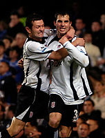 Photo: Ed Godden.<br />Chelsea v Fulham. The Barclays Premiership. 30/12/2006.<br />Fulham's Carlos Bocanegra (R) celebrates his goal to make it 2-2 with team mate Tomasz Radzinski.