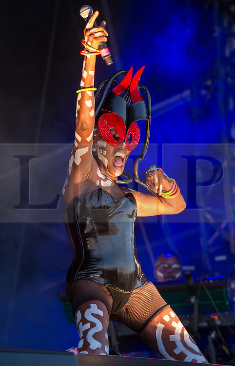 © Licensed to London News Pictures. 31/08/2019. Bristol, UK. GRACE JONES plays the main stage at the Downs Festival. Photo credit: Simon Chapman/LNP.