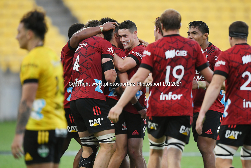 Crusaders players celebrate their bonus point win in the Super Rugby match, Hurricanes v Crusaders, Sky Stadium, Wellington, Sunday, April 11, 2021. Copyright photo: Kerry Marshall / www.photosport.nz
