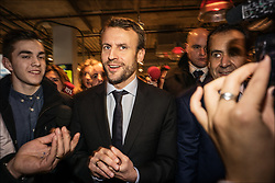 French Minister of the Economy, Industry and the Digital Sector Emmanuel Macron meets with storekeepers and shoppers during his visit to Beaugrenelle shopping mall to mark the official launch of the 2016 winter sales, in Paris, France on January 6, 2016. Photo by Renaud Khanh/ABACAPRESS.COM