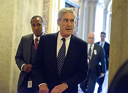 June 21, 2017 - Washington, District of Columbia, United States of America - Special Counsel Robert Mueller departs the United States Capitol following his closed-door meeting with top members of the US Senate Committee on the Judiciary in Washington, DC on Wednesday, June 21, 2017.  The meeting was to ensure Mueller's investigation does not conflict with the work of the US House and US Senate committees investigating Russian involvement in the 2016 Presidential campaign and possible collusion with the Trump campaign..Credit: Ron Sachs / CNP (Credit Image: © Ron Sachs/CNP via ZUMA Wire)