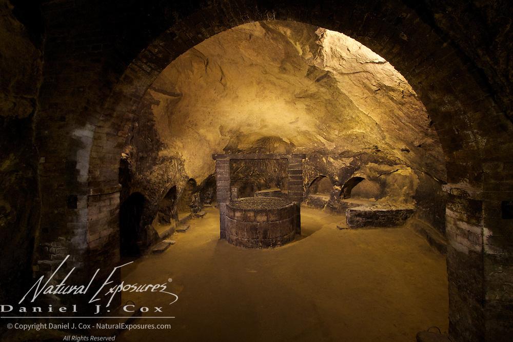 The underground cellars at Tenimenti DeRicci winery in Monticchiello, Italy