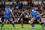 Nemani Nadolo of the BNZ Crusaders looks for a way thorugh the defense during the Canterbury Crusaders v the Western Force Super Rugby Match. Nib Stadium, Perth, Western Australia, 8th April 2016. Copyright Image: Daniel Carson / www.photosport.nz
