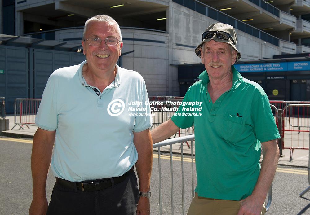 18-07-21. Meath v Dublin - Leinster SFC Semi-Final at Croke Park.<br /> Noel Smyth (Left) and Gerry Dungan, Navan  were in Croke Park supporting Meath in Leinster SFC Semi-Final.<br /> Photo: John Quirke / www.quirke.ie<br /> ©John Quirke Photography, 16 Proudstown Road, Navan. Co. Meath. (info@quirke.ie / 046-9028461 / 087-2579454).