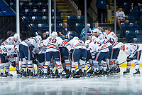 KELOWNA, CANADA - SEPTEMBER 5: The against the Kamloops Blazers huddle around the net at the start of the game against the Kelowna Rockets on September 5, 2017 at Prospera Place in Kelowna, British Columbia, Canada.  (Photo by Marissa Baecker/Shoot the Breeze)  *** Local Caption ***