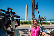 """TV Team from RTL makes an Interview with the Owner of the Restaurant """"Zur Krone""""amid the global coronavirus COVID-19 pandemic, Monday, May 11, 2020, in Palma de Mallorca, Spain. (Thomas Reiner-ESPA Images-Image of Sport)"""