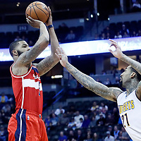 08 March 2017: Washington Wizards forward Markieff Morris (5) takes a jump shot over Denver Nuggets forward Wilson Chandler (21) during the Washington Wizards 123-113 victory over the Denver Nuggets, at the Pepsi Center, Denver, Colorado, USA.