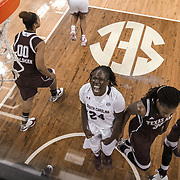 South Carolina Gamecocks player Aleighsa Welch celebrates a basket against Texas A&M during an SEC women's college basketball game coached by Dawn Staley at Colonial Life Arena in Columbia, S.C. ©Travis Bell Photography