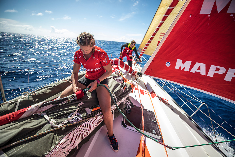 Leg 02, Lisbon to Cape Town, day 13, on board MAPFRE, Sophie Ciszek and Guillermo Altadill on the bow during a pilling. Photo by Ugo Fonolla/Volvo Ocean Race. 17 November, 2017