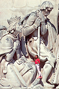 PORTUGAL, LISBON Monument to the Discoveries c1960 commemorates Portugal's explorers; detail of navigators and captains